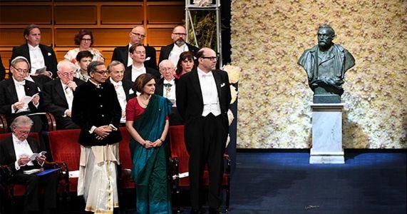 पारंपारिक पेहरावात बॅनर्जी दाम्पत्याने स्वीकारला 'नोबल' पुरस्कार