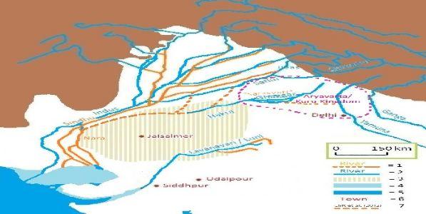 सरस्वती नदी भारतात हरियाणा येथे १५ व्या शतकापर्यंत वाहत होती
